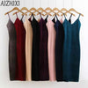 AIZHIXI Brief 2017 Spring Summer Slip Suspender Velvet Dress Woman Sexy Sheath Slim One Side Vent Solid Ukraine Strap Dresses