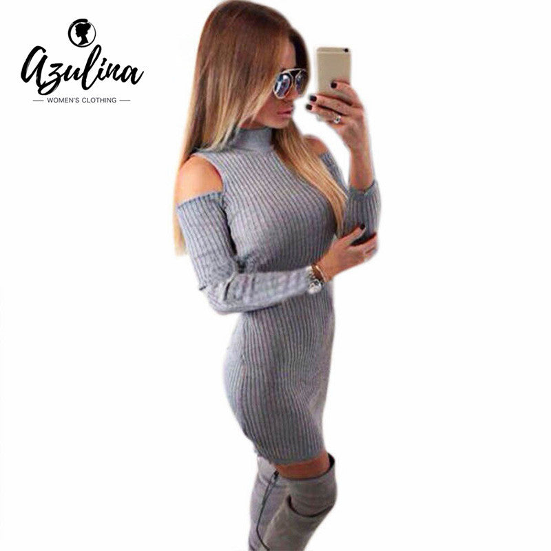 AZULINA Sexy Party Club Dresses Off Shoulder Knitted Sweater Vestidos Robe  Femme Women Warm Winter 2016 ccf1c7845