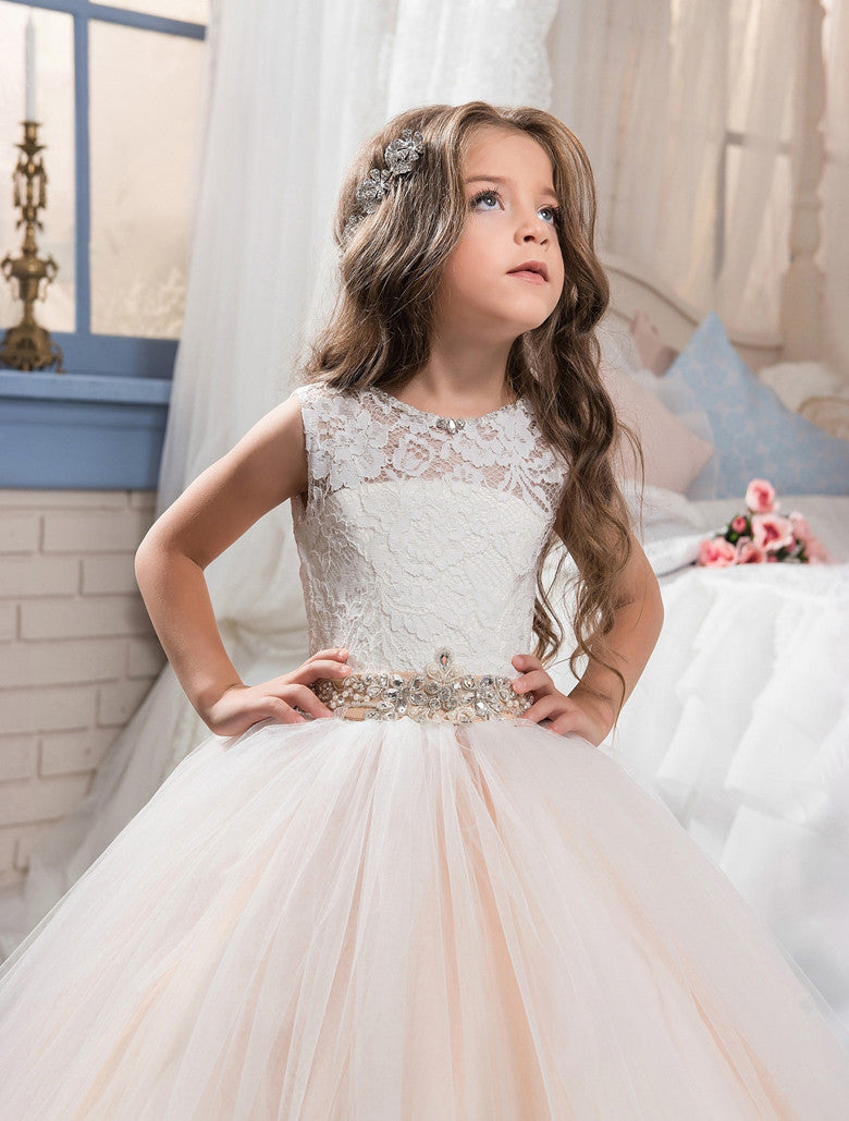 Abaowedding champagne graduation gowns children pageant ball gown dresses for girls prom dresses lace flower girl dresses Flower Girl Dresses mkay- upcube