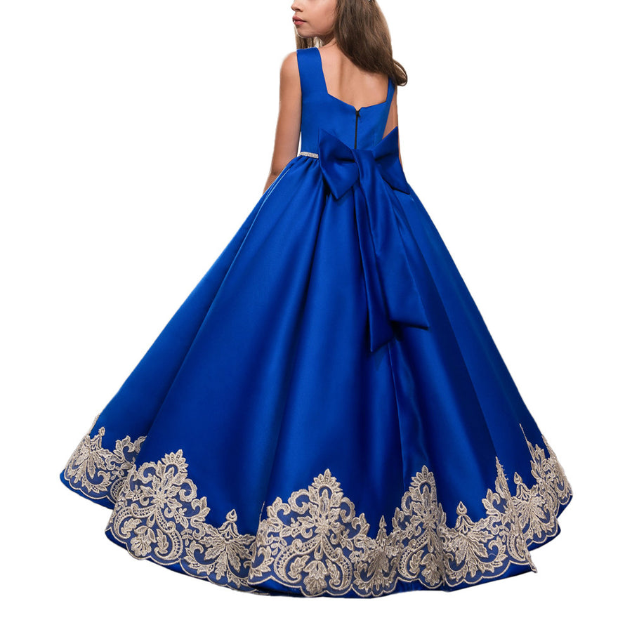 Abaowedding customised royal blue party dresses for girls 10 12 kids prom dresses evening gowns blue graduation gowns children Flower Girl Dresses mkay- upcube