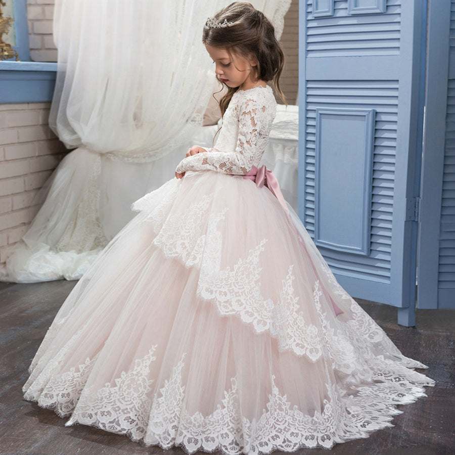 Abaowedding long sleeve pink flower girl dresses 2017 puffy ball gowns for girls 10 12 lace first communion dresses for girls Flower Girl mkay- upcube