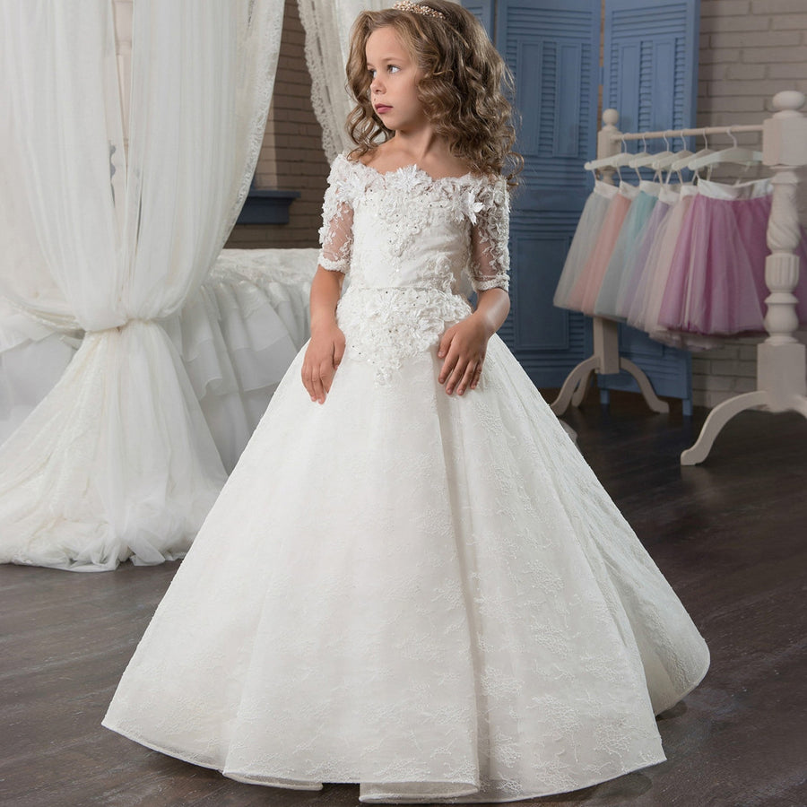 d68d470c39 Abaowedding princess lace white first communion dress for girls sleeves  ball gown spring children graduation dresses