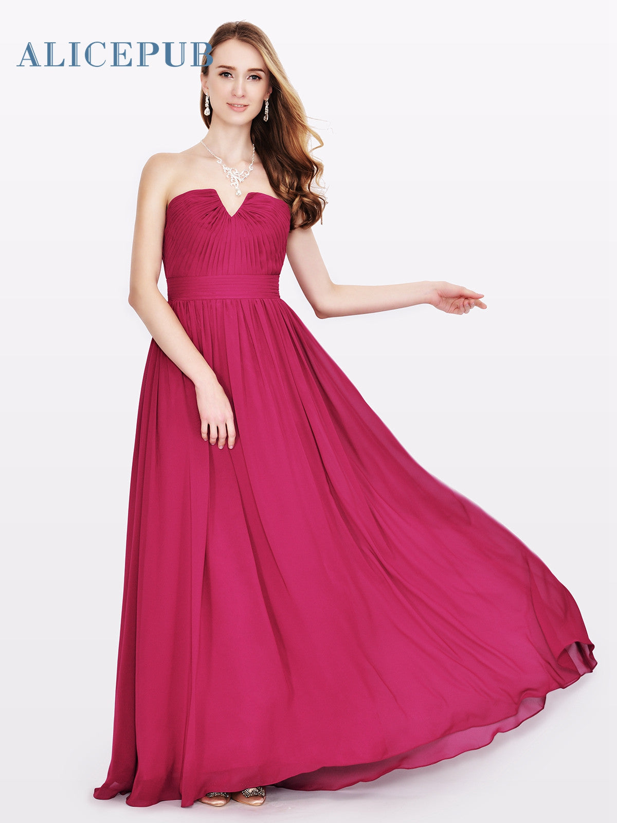 Alicepub STOCK 6 Style Bridesmaid Dresses Long Chiffon Wedding Party ...