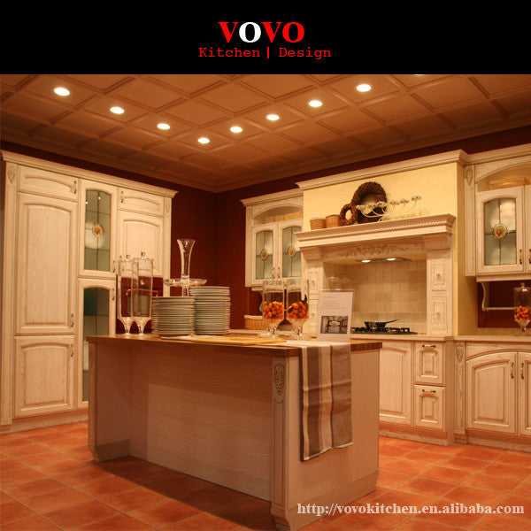 American style solid wood kitchen cabinet design