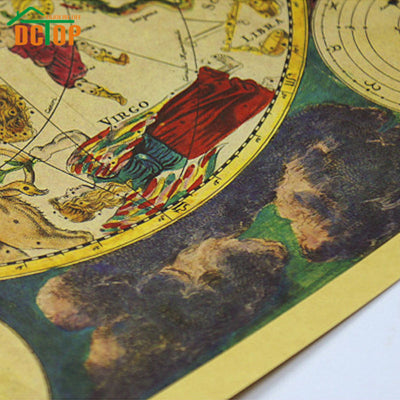 Ancient World Map Poster Zodiac Constellation Map Wallpaper - Constellation wall map
