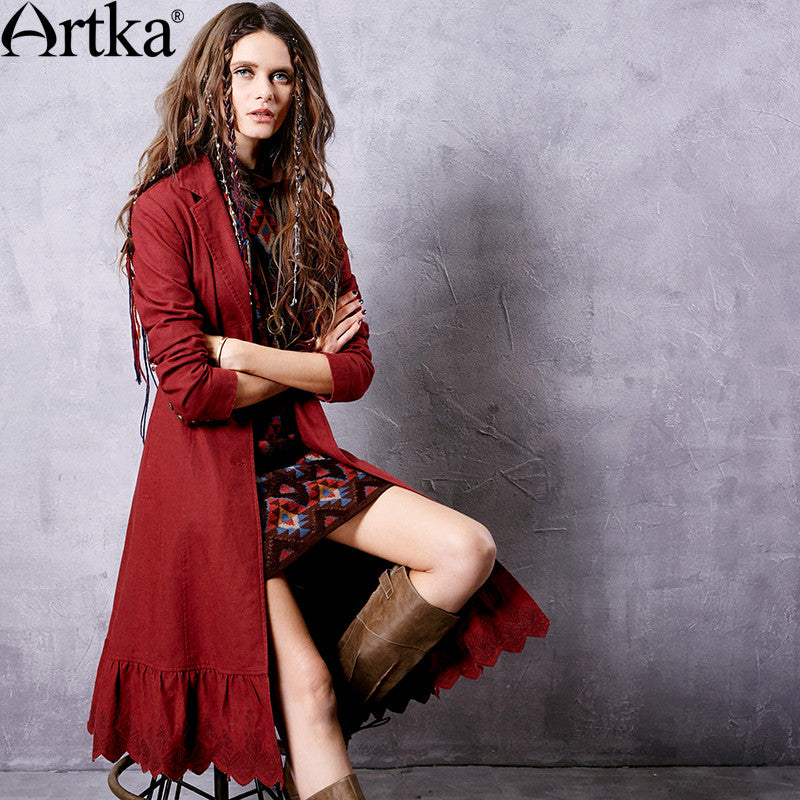 b81c90f9fdd Artka Women s 2017 Spring Claret Embroidery Lacing Trench Vintage Turn-down  Collar Long Sleeve Ruffle
