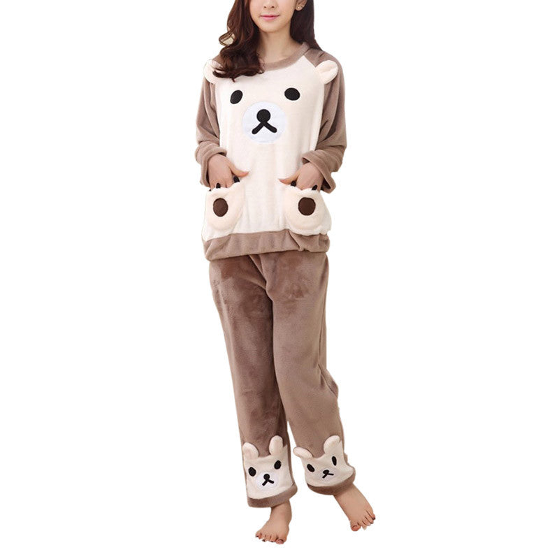 Autumn Winter Ladies Sleepwear Long Sleeves Thick Warm Coral Velvet Suit Home Cute Bear Biscuits Softs Pajamas Sets Pajama Sets Yancey- upcube