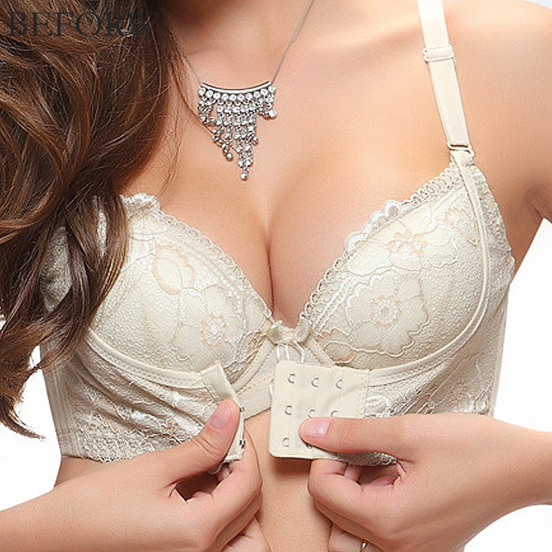 8aa68f1038a BEFORW Sexy Women Bra Front Closure Push Up Lace Bras Massage oil Water Bag  Wire Bralette