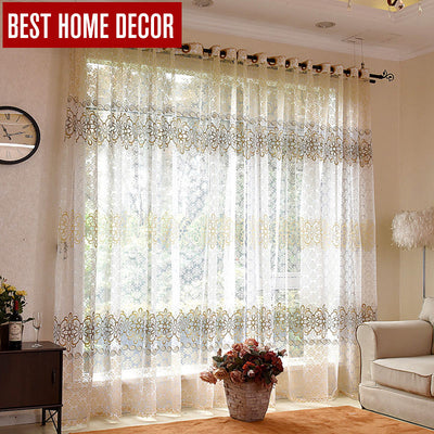 BHD Floral Sheer Tulle Window Curtains For Living Room The Bedroom Modern