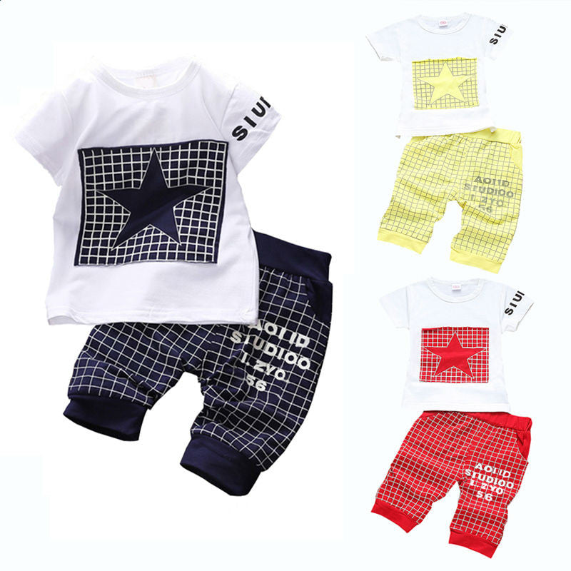 Baby boy clothes 2017 Brand summer kids clothes sets t-shirt+pants suit clothing set Star Printed Clothes newborn sport suits Clothing Sets wesay jesi Store- upcube