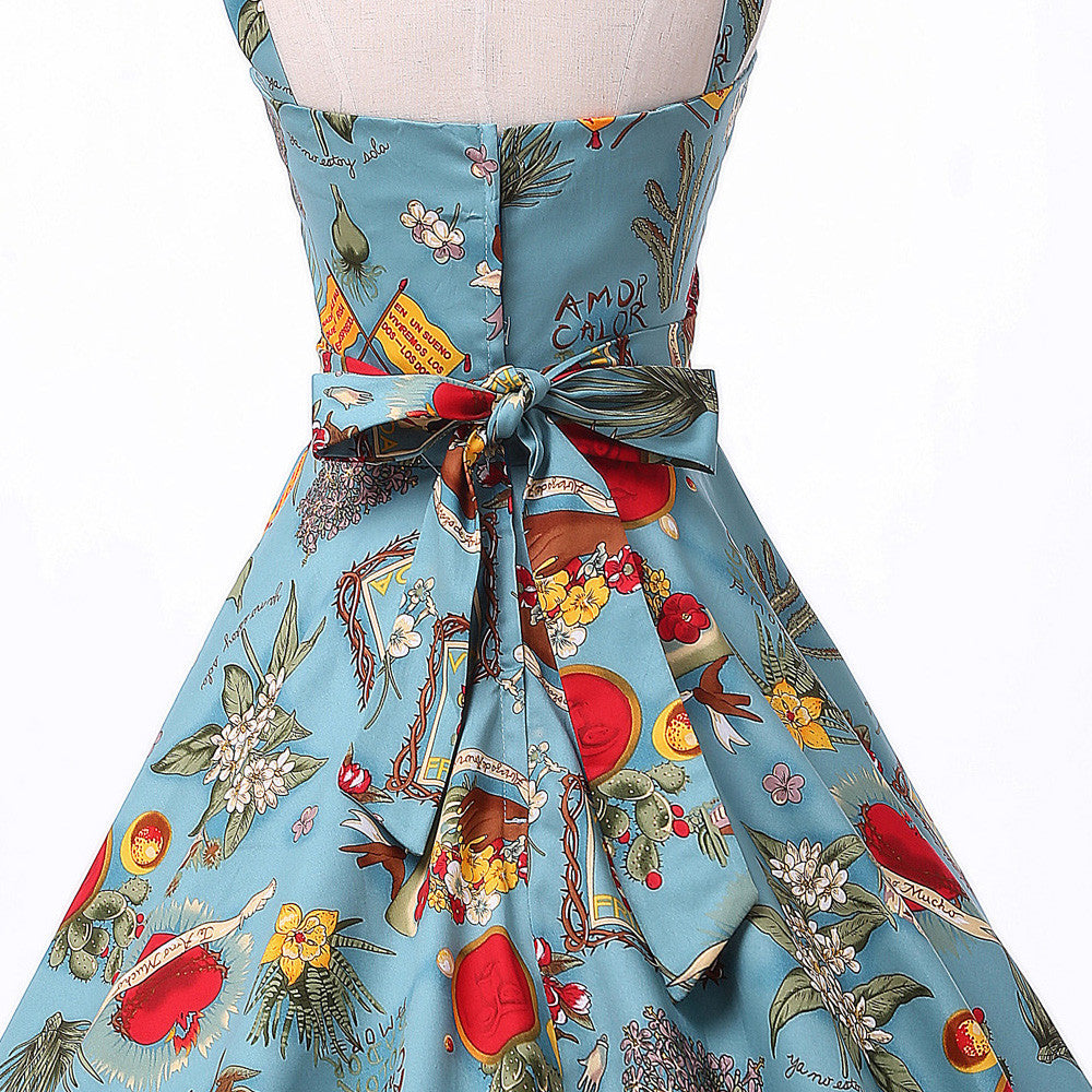 70c66cc5a08f9 Belle Poque Rockabilly Womens Summer Style Dresses 2017 robe Pin Up Retro  Vintage 50s Audrey Hepburn Swing Print Casual Clothing