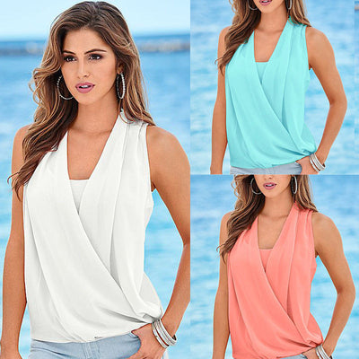 Blouse Shirts Fashion Women Lady Summer Vest Top Sleeveless V Neck Shiffon White Blue Quality Casual Tank Tops Blouse 2016