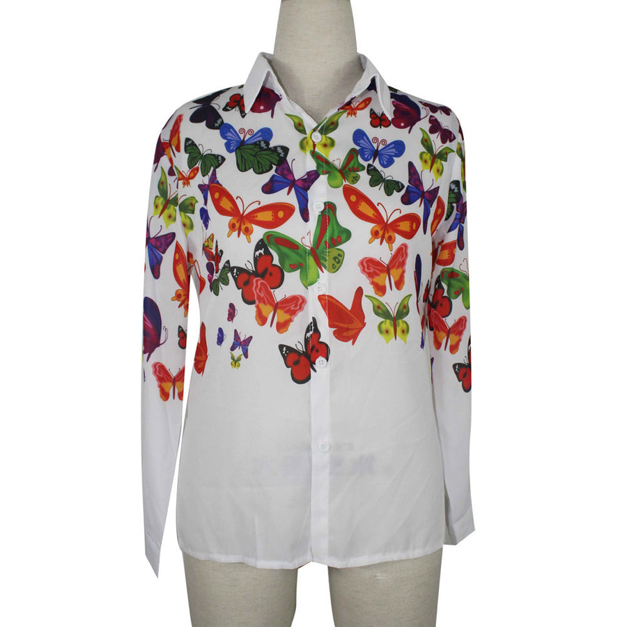 Blouses Women white fashion Butterfly Chiffon blouse plus size body Tops Long Sleeve Shirt Casual blusa feminino Comfortable A5