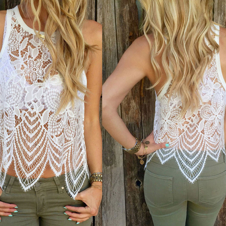 Blusas Sexy Hollow out Summer White Women Lace Crochet Vest Tank Top Casual Sleeveless Blouse plus size vetement femme C0 Blouses & Shirts AliPartner- upcube