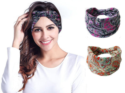 45ac42d1006 Bohemia BOHO Wide Cotton Stretch Women Headbands Headpiece Headwrap Turban  Headwear Bandage Hair Bands Bandana Fascinator
