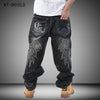 Brand Men Baggy Jeans Denim Loose Washing Jeans Men Hip Hop biker jeans Long Skateboard Relaxed Fit Jeans Mens Harem Pants Black  Boutique clothes two shops- upcube