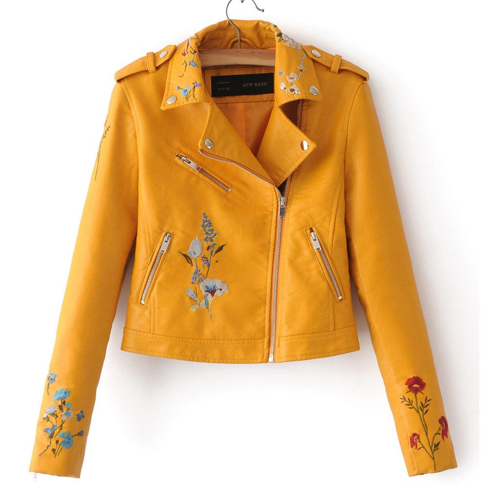 280d7efb093 Brand Motorcycle PU Leather Jacket Women Winter And Autumn New Fashion Coat  4 Color Zipper Outerwear
