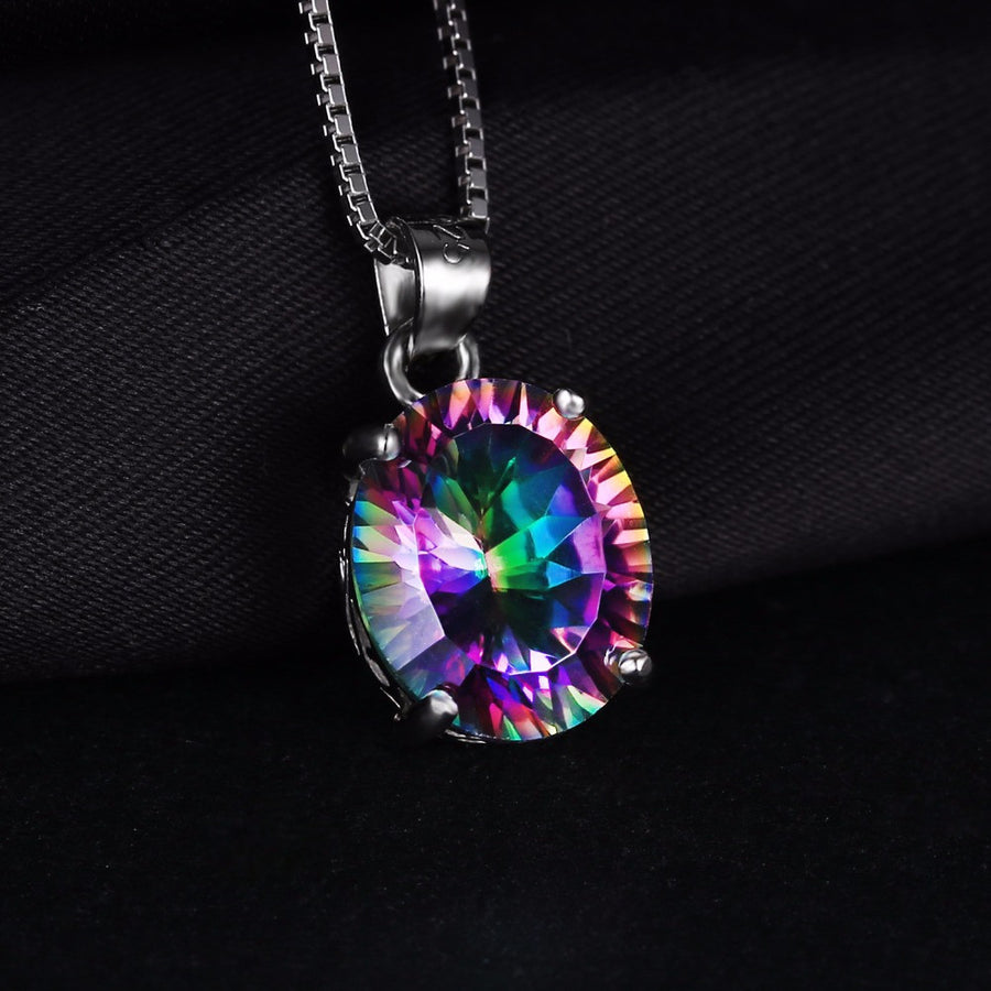 Brand New Hot Sale Genuine Rainbow Fire Mystic Topaz Oval Pendant Ring Earrings Stud For Women Solid 925 Sterling Silver Set Jewelry JewelryPalace Official Store- upcube