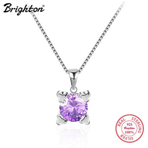 Brighton Delicate Silver Small Cute Footprint Charms Necklace With Purple Zirconia 925 Sterling Silver Chain