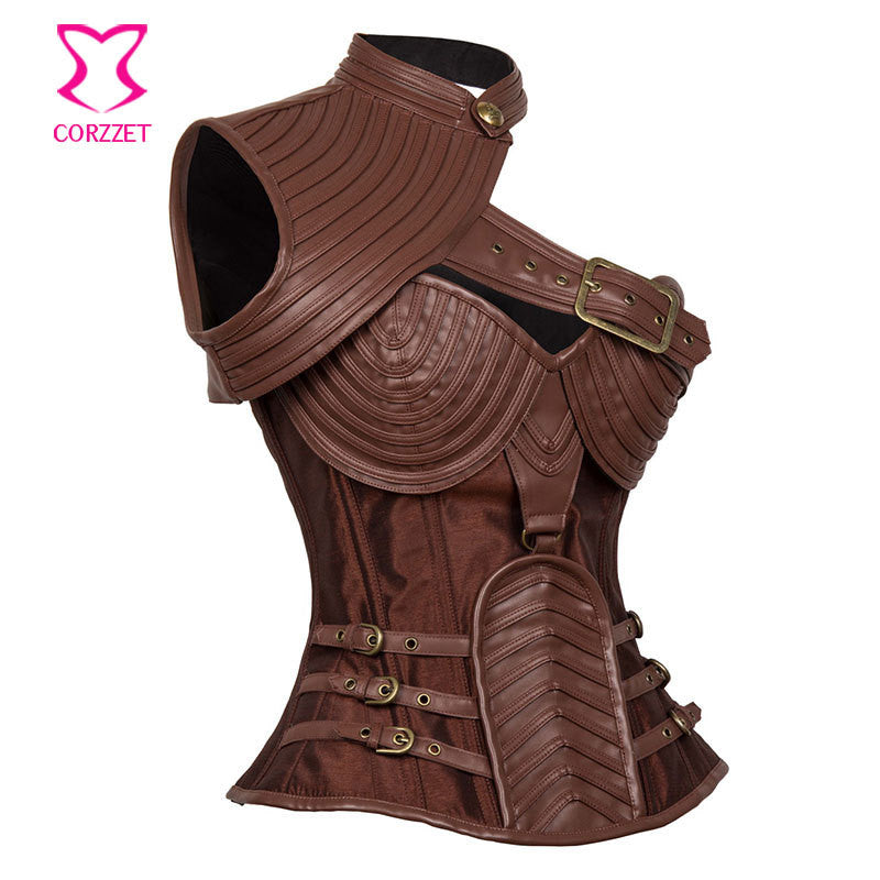 5bd56223a5 Brown Leather Armor Corset Sexy Gothic Corsets And Bustiers Vintage  Steampunk Clothing Corpetes E Espartilhos Plus