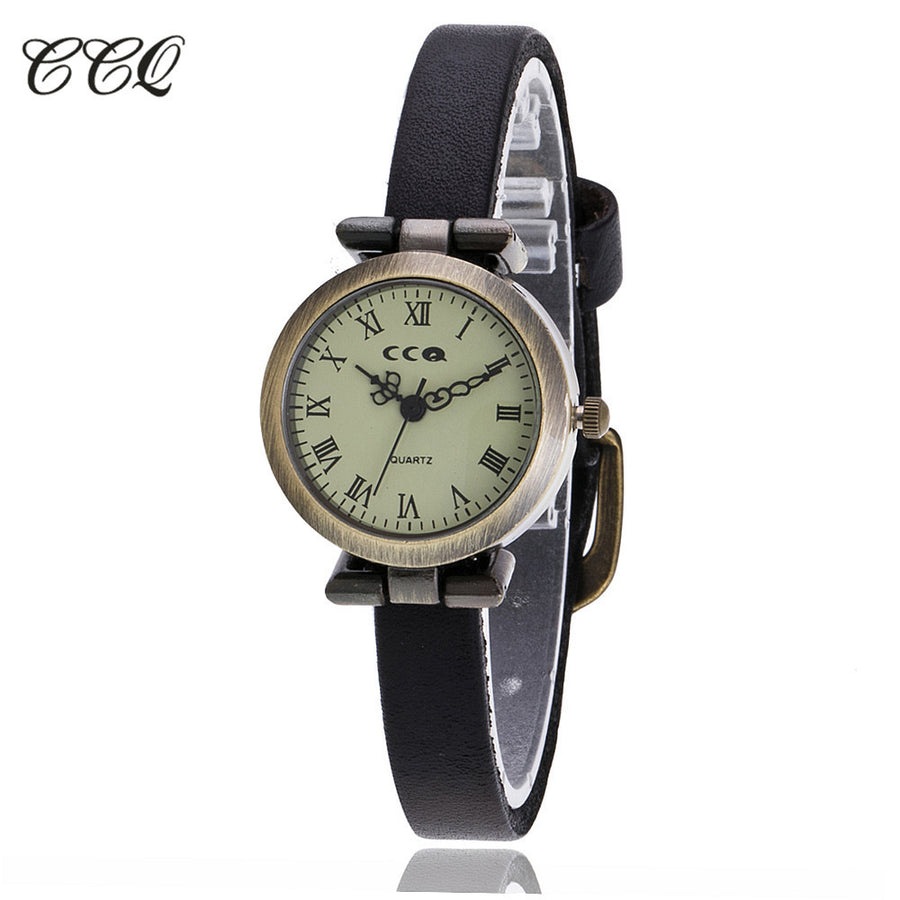 CCQ Brand Fashion Roma Vintage Cow Leather Bracelet Watch Casual Women WristWatch Luxury Quartz Watch Relogio Feminino 1909