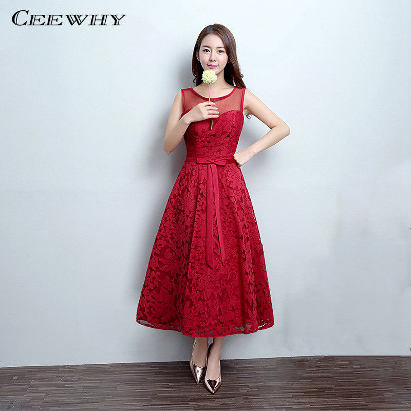 CEEWHY Burgundy Sleeveless A-Line Wedding Party Dress Lace Formal Gowns  Tea-Length Cocktail e19ebe4fb663