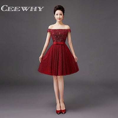 CEEWHY Red Burgundy Sequined A-Line Prom Dresses Knee Length Cocktail Dress  Boat Neck Short 7f910d1feec1