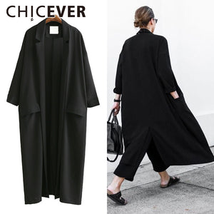 CHICEVER 2017 Summer Loose Women Coats Three Quarter Sleeve Plus Size Black Sunscreen Trench Coat For Women's Clothes Korean