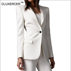 CLUXERCER Brand Women Elegant Blazer Suit Fashion Women Blazers And Jackets OL Long Sleeve Slim Work White Blazer Female