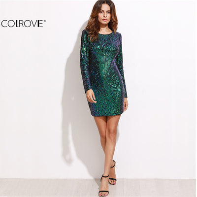 3bf2eab3a4a6 COLROVE Womens Sexy Dresses Party Night Club Dress Bodycon Sexy Dress Club  Wear Iridescent Green Open