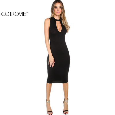 bd93d91cb9 COLROVIE 2016 Summer Women s Sexy Work Wear Solid Black Cutout Front Round  Neck Sleeveless Sheath Midi