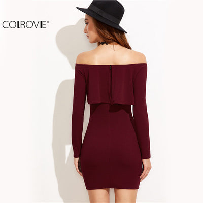 dd12ecb0668 COLROVIE Long Sleeve Dress Womens Clothing Winter Dresses Women Sexy Dresses  Burgundy Off The Shoulder Ruffle