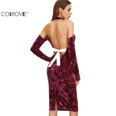 dac6369fb31 COLROVIE Sexy Women Backless Bodycon Pencil Dress Hollow Out Woman New  Arrival Black Open Shoulder Long