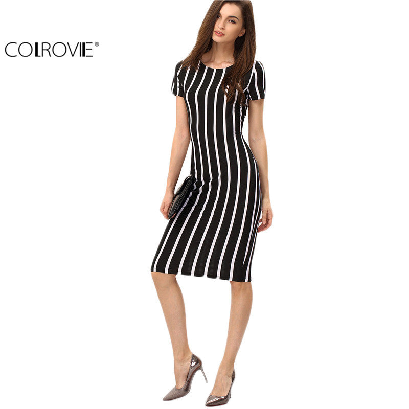 7d935dd193f9 COLROVIE Women Vertical Striped Fitness Dresses Work Summer Style Sexy 2016 New  Short Sleeve Sheath Office