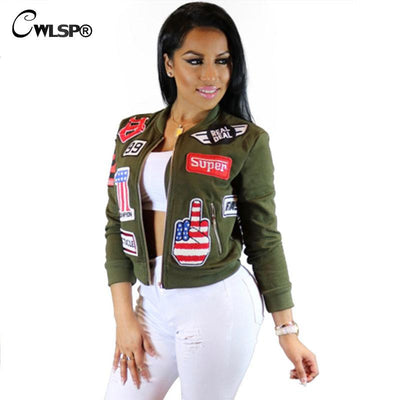 CWLSP Autumn 3D Patch Designs Bomber Jackets Coats Women Long Sleeve Stand  collar Military outwears Zippers cab9cd0a7914