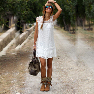 Casual Dress Mini Sleeveless Bohemian White Lace Women Dress Boho Clothing Loose Dress Sexy Plus Size Women Clothing Summer 2017