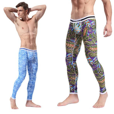 Cheap&High Quality Men's Soft Long Johns Pants Thermal Pants Cotton Pattern Printed Underwear S-XL Leggings Women Clothes Retail Store- upcube