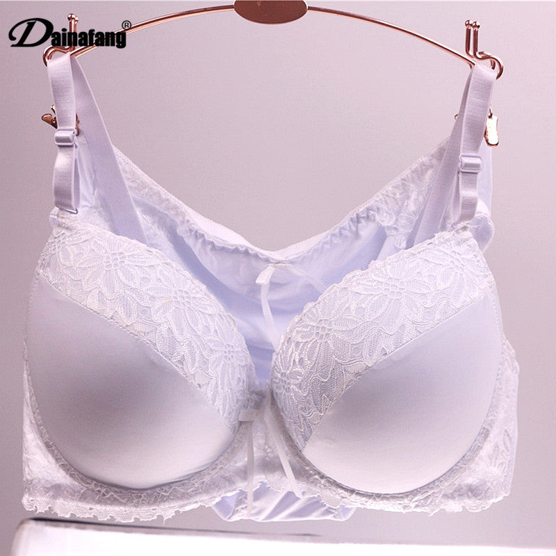 fb19805115 ... Sexy Underwear Bra Panty Sets Intimates. Cheap Plus Size Cup Women Push  Up Lace Lingerie Set 38CD 42CD 40CD White thin bracelet