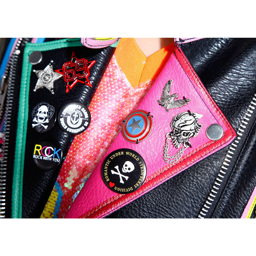 Chic Bomber Rivet Leather Jacket Fashion Letter Print Pattern Leather Coats Graffiti badge Artificial Locomotive leather jacket