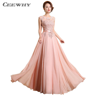 Chiffon Pearls Embroidery Sleeveless Women Formal Gowns Wedding Party  Dresses Elegant Long Red A-Line 741f56ec705d