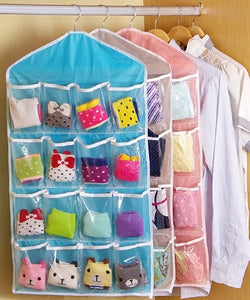 Clothing Hanger Closet Shoes Underpants Storage Bag 16 Pockets Foldable  Wardrobe Hanging Bags Socks Briefs Organizer ...