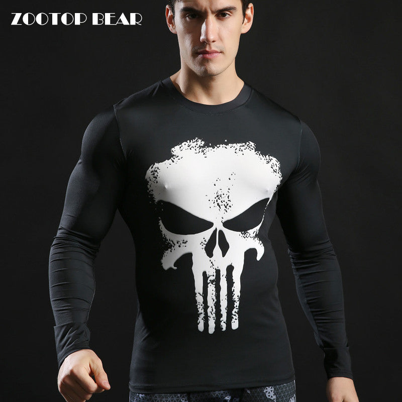 dc5386da Compression Tshirts Punisher Top 3D Long Sleeve Fitness Tight T-shirt  Superhero Skull Printed Tactical