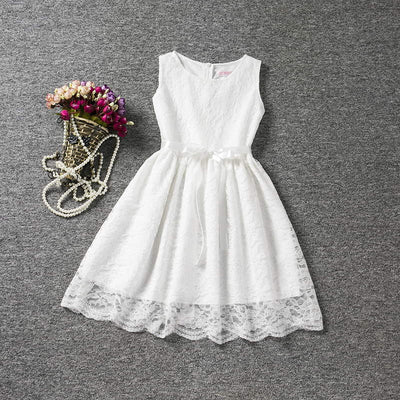 a9b16f18242 Cool Summer Solid Bow Toddler Girl Lace Dress With Blet For 4 to 10 Years  Old