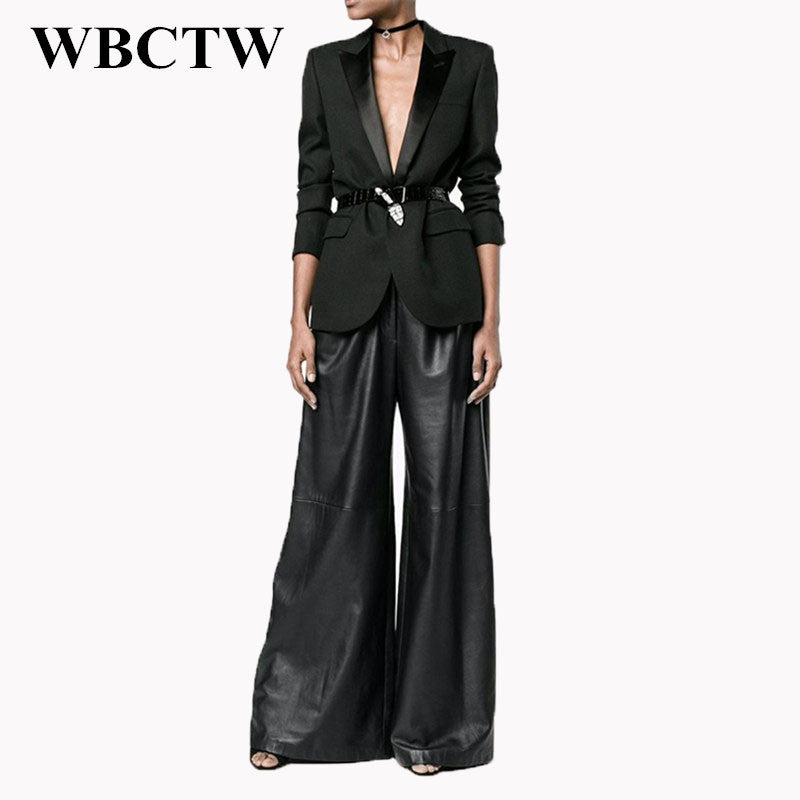 455306ec4d6 Customized Plus Size High Waist Full Length LooseTrousers PU Faux Leather  Summer Pants Black Leather Wide