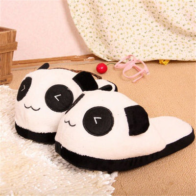 b8db23538 Cute Funny Panda Women Slippers With Heel Lovely Cartoon Indoor Eyes Face  Home Pantufas Lover Winter