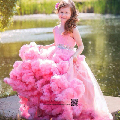 Cute Pink Mother Daughter Gowns Little Girls Evening Gowns Ruffles Tul