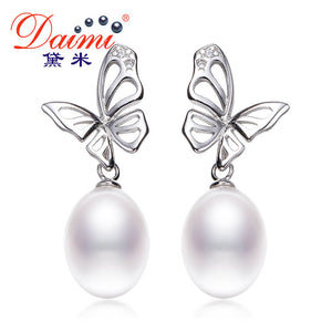 DAIMI Elegant Butterfly Earrings 9-10mm Tear Drop Freshwater Pearl Earrings 925 Sterling Silver Dangle Earrings