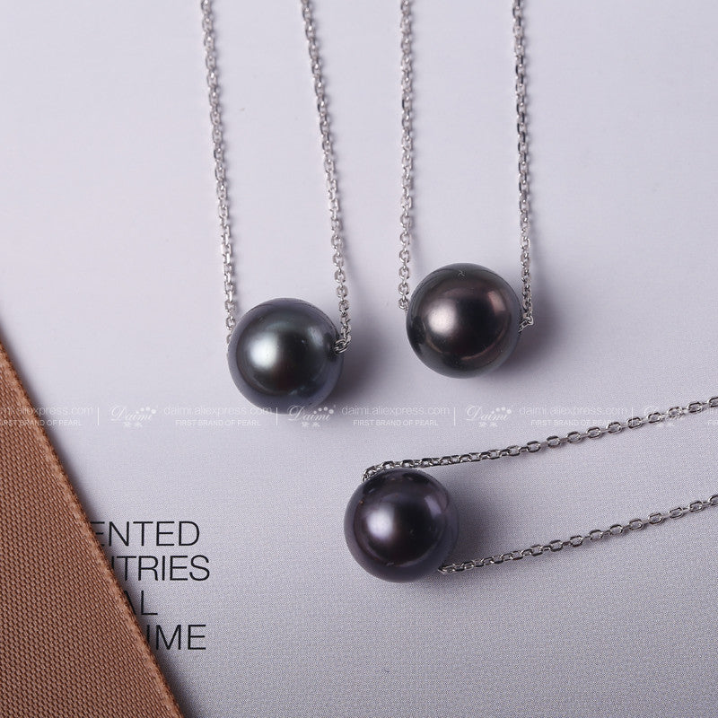 Daimi on sale 10 11mm black tahitian pearl necklace 925 silver chain daimi on sale 10 11mm black tahitian pearl necklace 925 silver chain necklace single pearl aloadofball Image collections
