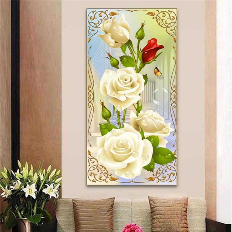 DIY 5D Diamond Mosaic White Rose Resin with Full Painting Cross ...