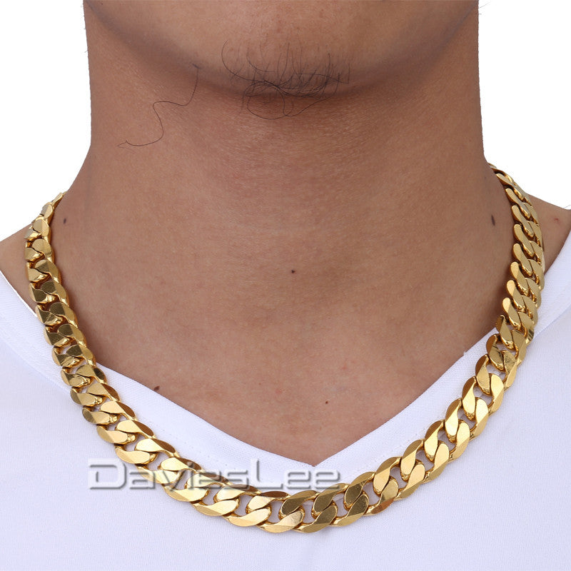 necklace tone curb link itm silver mens cuban chain steel stainless